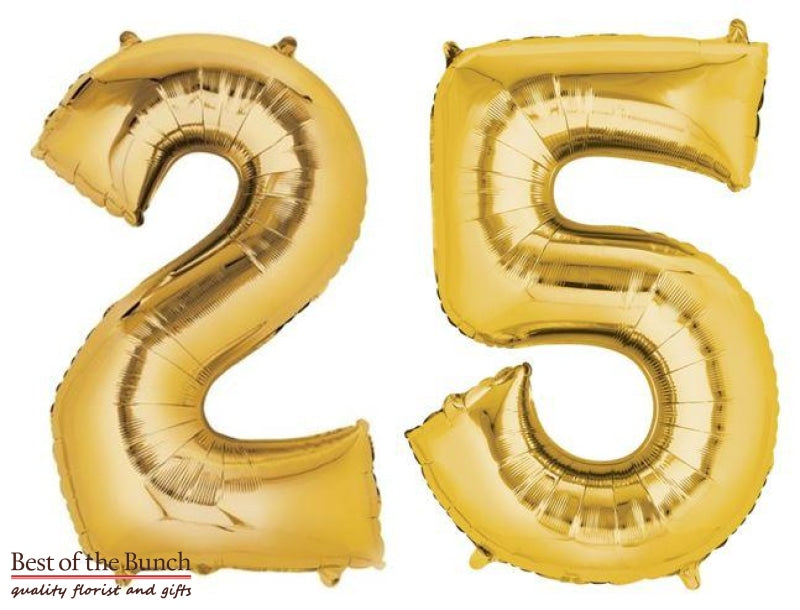 "Giant XXL Extra Large Number 25 Gold Foil Helium Balloon 86cm (34"") - Best of the Bunch Florist Wellington"