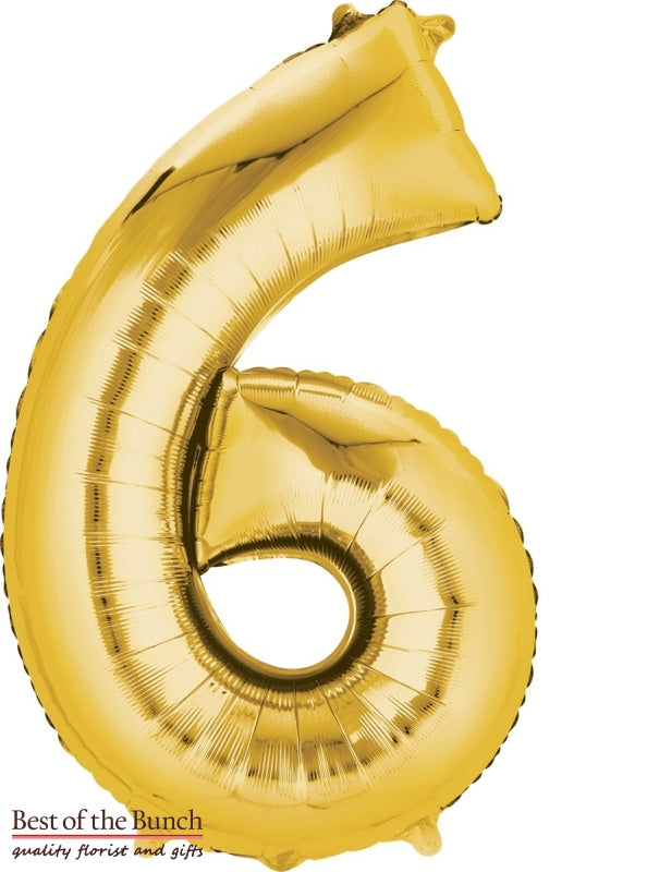 "Giant XXL Extra Large Number 6 Gold Foil Helium Balloon 86cm (34"") - Best of the Bunch Florist Wellington"