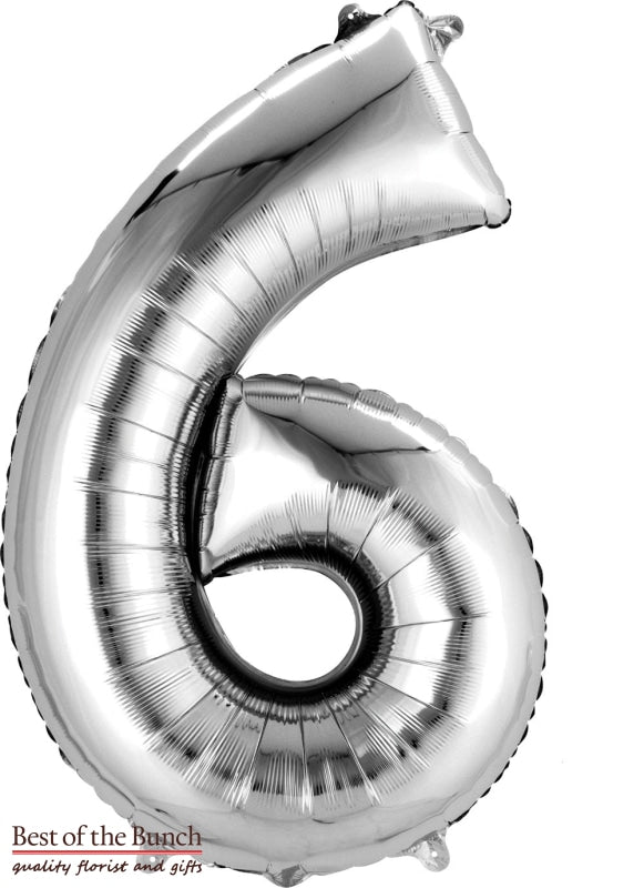 "Giant XXL Extra Large Number 6 Silver Foil Helium Balloon 86cm (34"") - Best of the Bunch Florist Wellington"