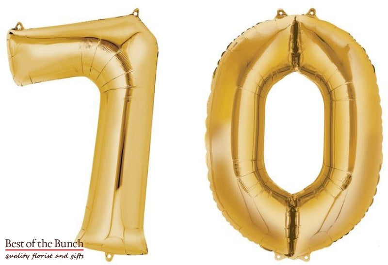 "Giant XXL Extra Large Number 70 Gold Foil Helium Balloon 86cm (34"") - Best of the Bunch Florist Wellington"