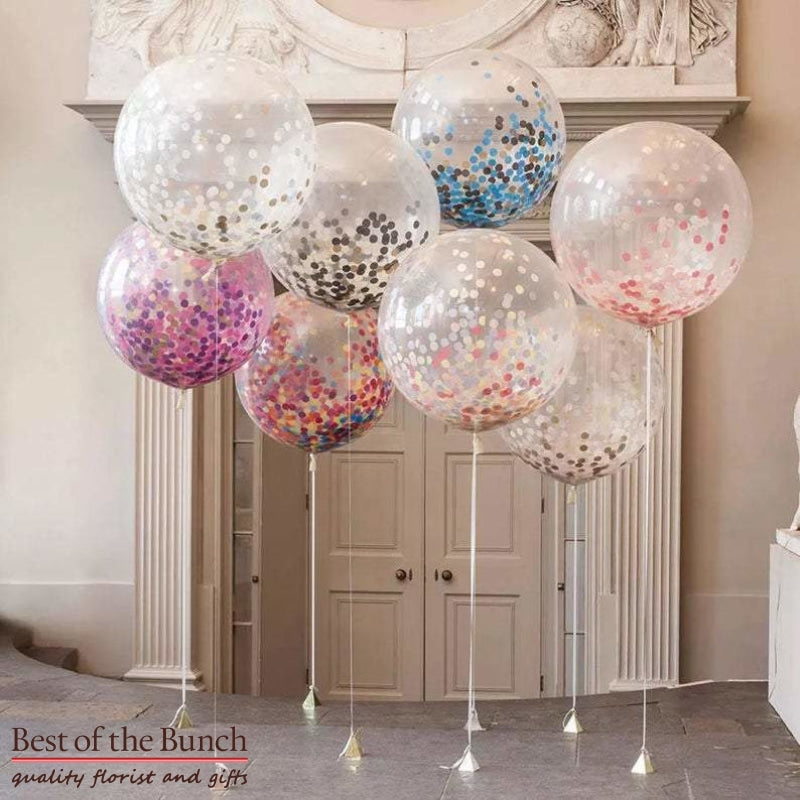 Giant XXL Extra Large Round Confetti Filled Latex Helium Balloons 60cm - Bouquet of Helium Balloons  - Choose Your Colours - Plain Colours - Best of the Bunch Florist Wellington
