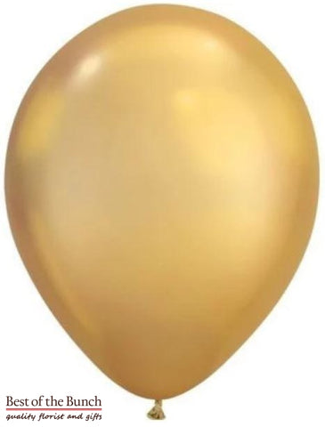 "Gold Plain Latex Helium Balloon 28cm (11"") - Best of the Bunch Florist Wellington"