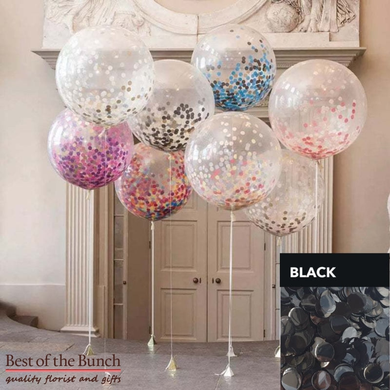 "Round Black Confetti Filled Giant XXL Extra Large Helium Balloon 60cm (24"") OR 90cm (36"") - Best of the Bunch Florist Wellington"