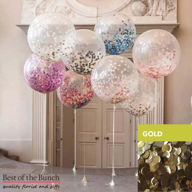 "Round Gold Confetti Filled Giant XXL Extra Large Helium Balloon 60cm (24"") OR 90cm (36"") - Best of the Bunch Florist Wellington"