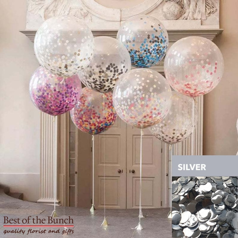"Round Silver Confetti Filled Giant XXL Extra Large Helium Balloon 60cm (24"") OR 90cm (36"") - Best of the Bunch Florist Wellington"