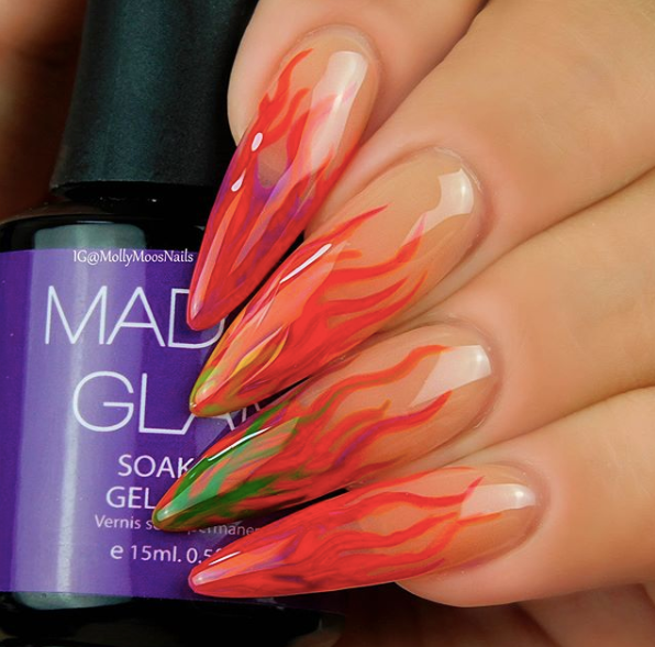 Easy Neon Flames Nail Art Design