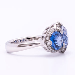 Women's Estate 8.77ct Blue Sapphire Ring in 18k White Gold w/ Diamonds