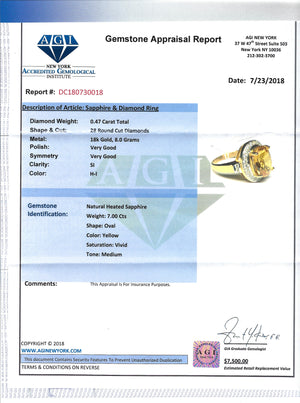 Women's 7ct Yellow Sapphire Ring in 18k Gold with Diamonds