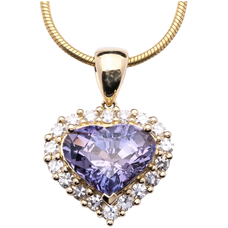 Women's Unheated 6.31ct Purple Sapphire Pendant in 18k Yellow Gold w/ Diamonds