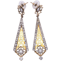 Estate Art Deco Style Earrings in 14K Yellow Gold/Silver with Diamond Accents