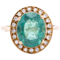 Women's Estate Columbian Emerald Ring in 18k Gold with Diamonds