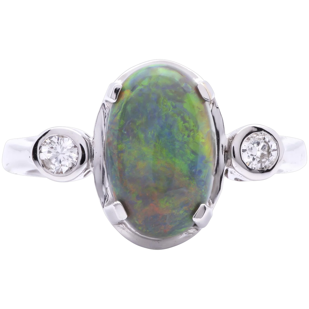 Women's 1.92ct Black Opal Ring in 18k White Gold with Diamonds