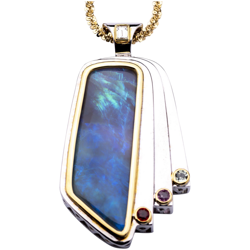 Women's 31ct Solid Opal Pendant in Sterling Silver and 18K Yellow Gold
