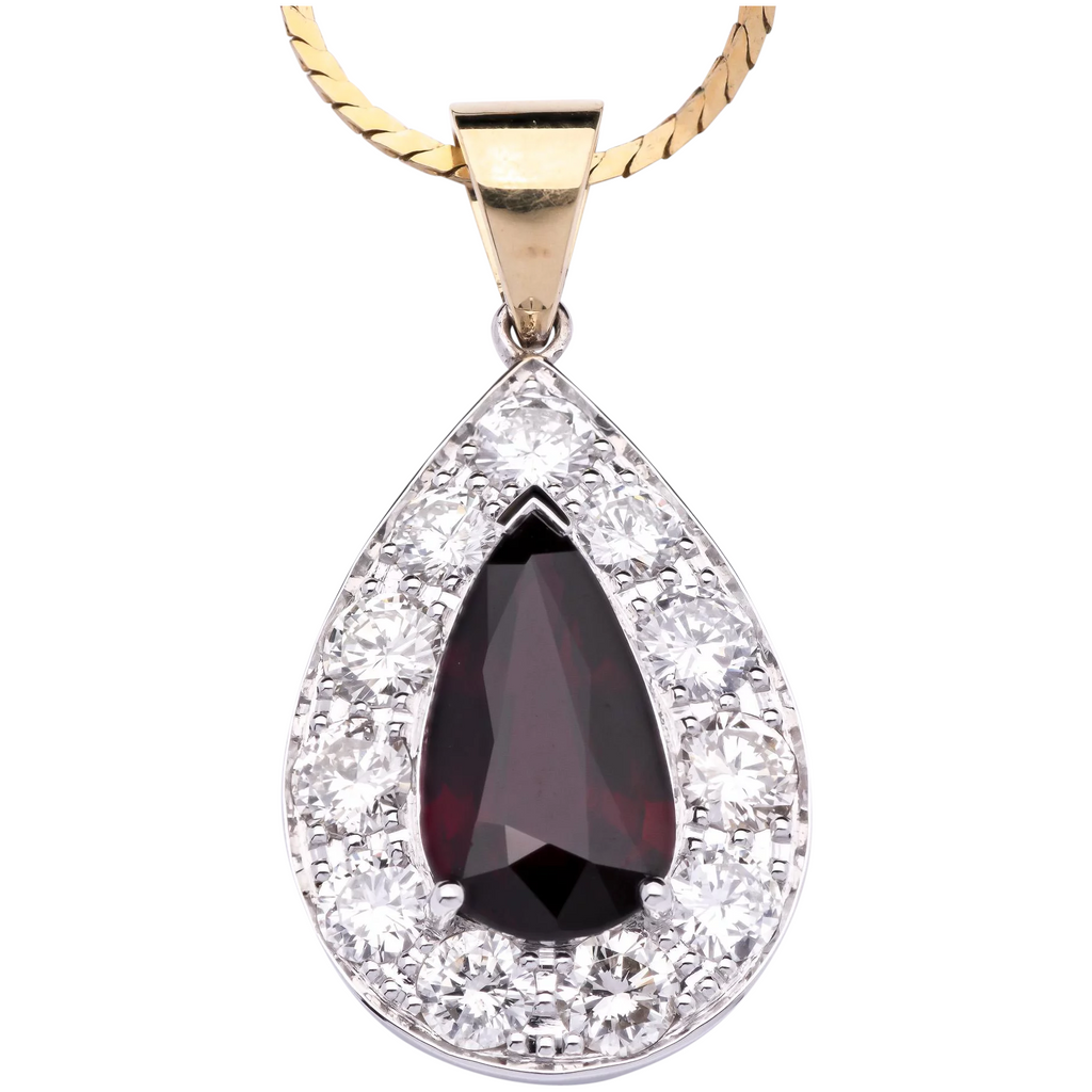 3.53ct Ruby Pendant Certified Unheated with White Diamonds in 18K Gold