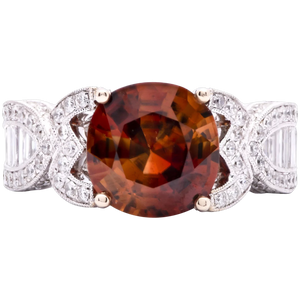 Estate Mogok Zircon Ring in 18k White Gold with Diamonds