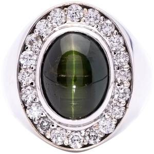 Women's Natural ~8ct Cats Eye Tourmaline Ring in 18k White Gold w/ Diamonds