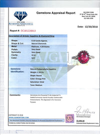 Women's 2.10ct Pink Sapphire Ring in Platinum with Diamonds from 1930s