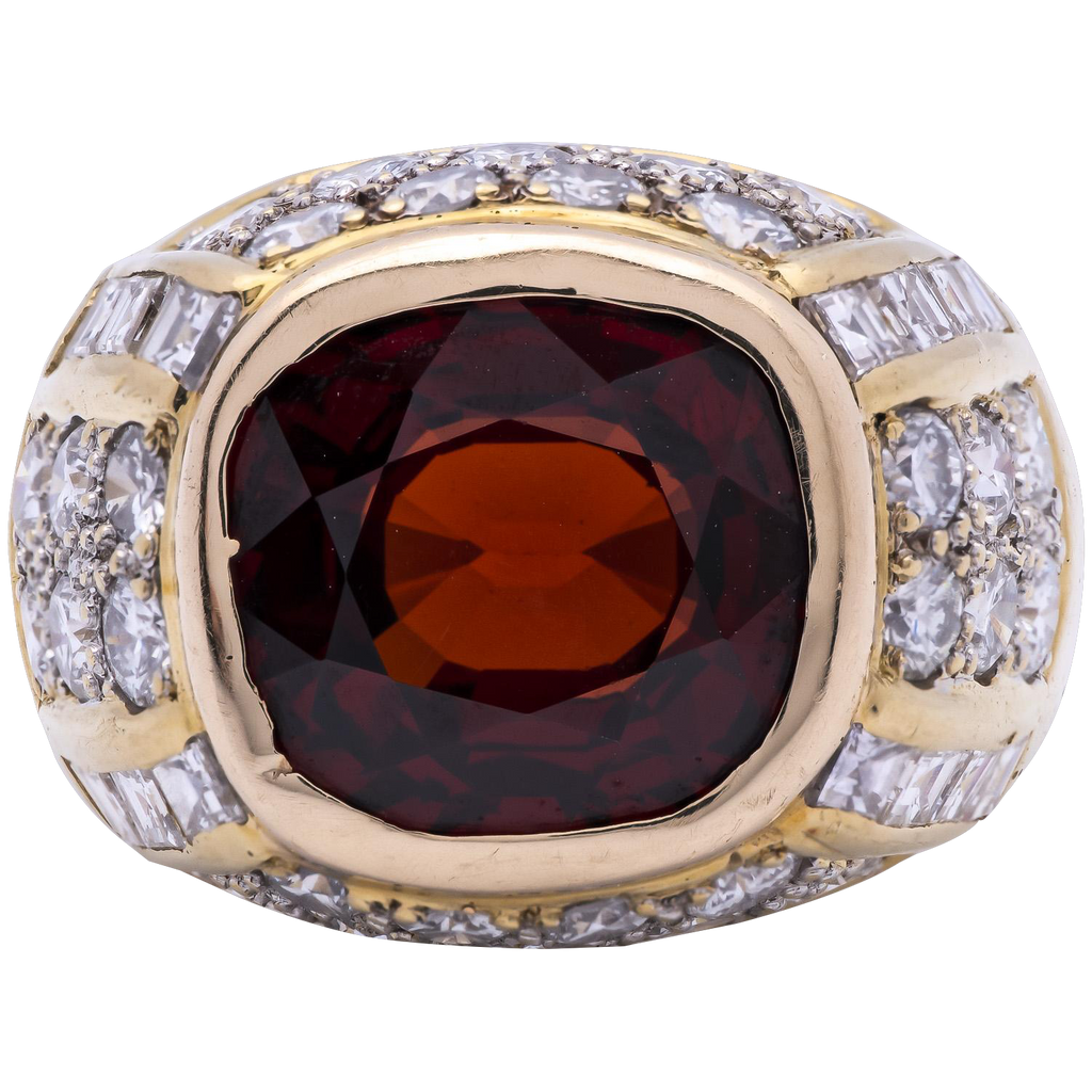Unisex Garnet & Diamond Ring in 18K Yellow Gold