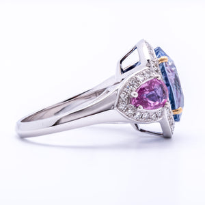 Women's 9.07ct Blue Sapphire Ring in 18k White Gold with Diamonds