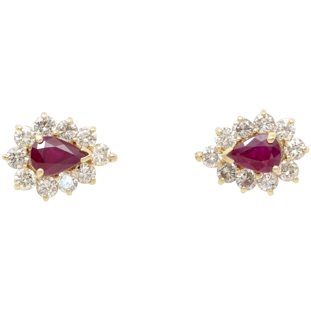 Pigeon Blood Red Burmese Ruby Earrings in 14k Gold w/ Diamonds