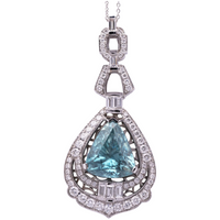 12ct Zircon Pendant in 18k White Gold With Diamonds