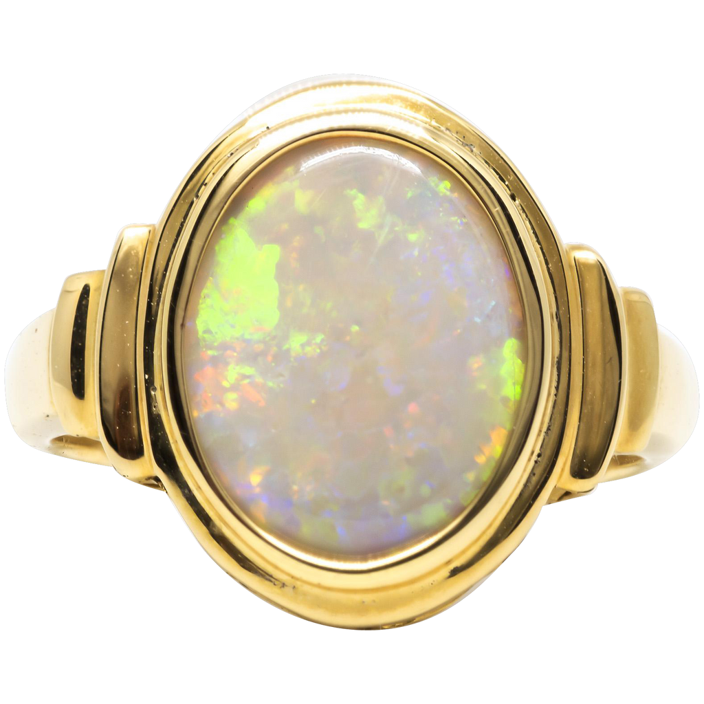 Women's 2.05ct Solid Opal Ring in 18k Yellow Gold
