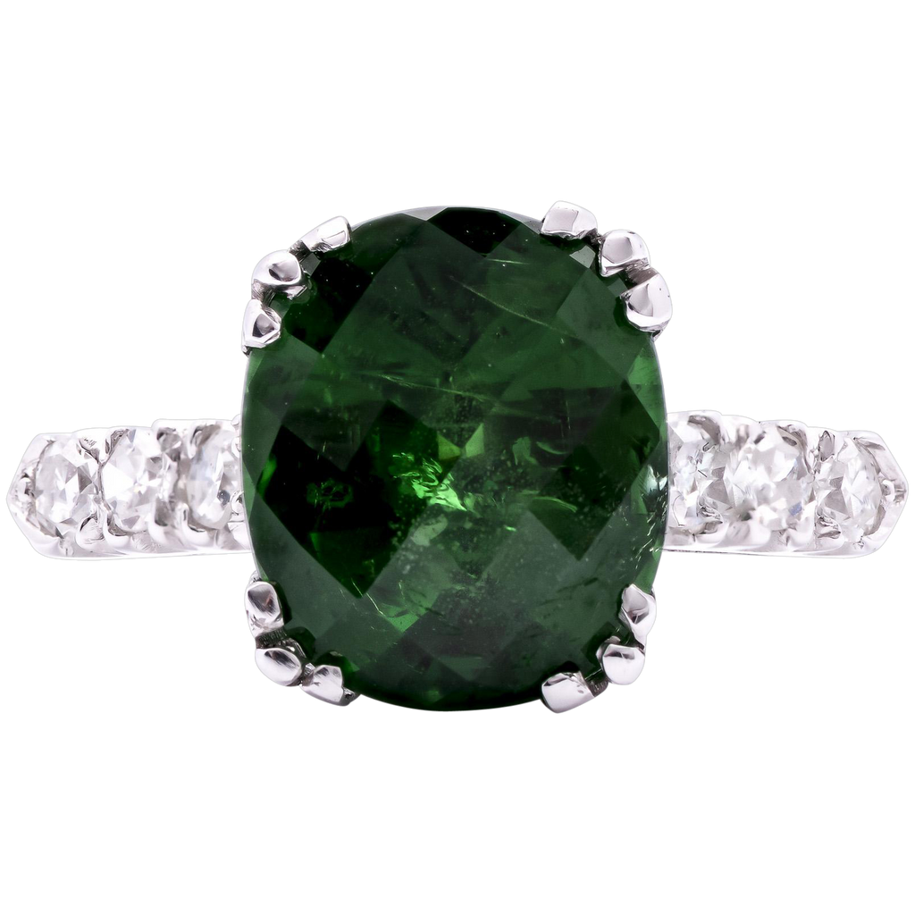 Women's 5.5 Carat Tsavorite Garnet Platinum Ring with Diamond Accents