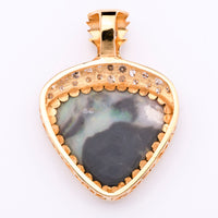 "12.33ct ""Picture"" Opal Pendant in 18K Yellow Gold with Diamonds"