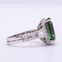 Women's Green Tourmaline Ring in 18K White Gold with Diamond Accents
