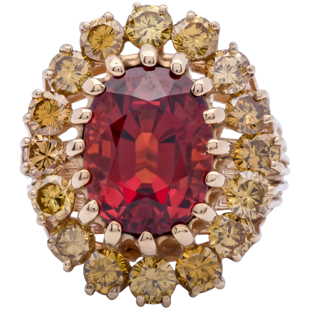 1950s Spessartite Garnet Ring with Sapphire in 18k Yellow Gold