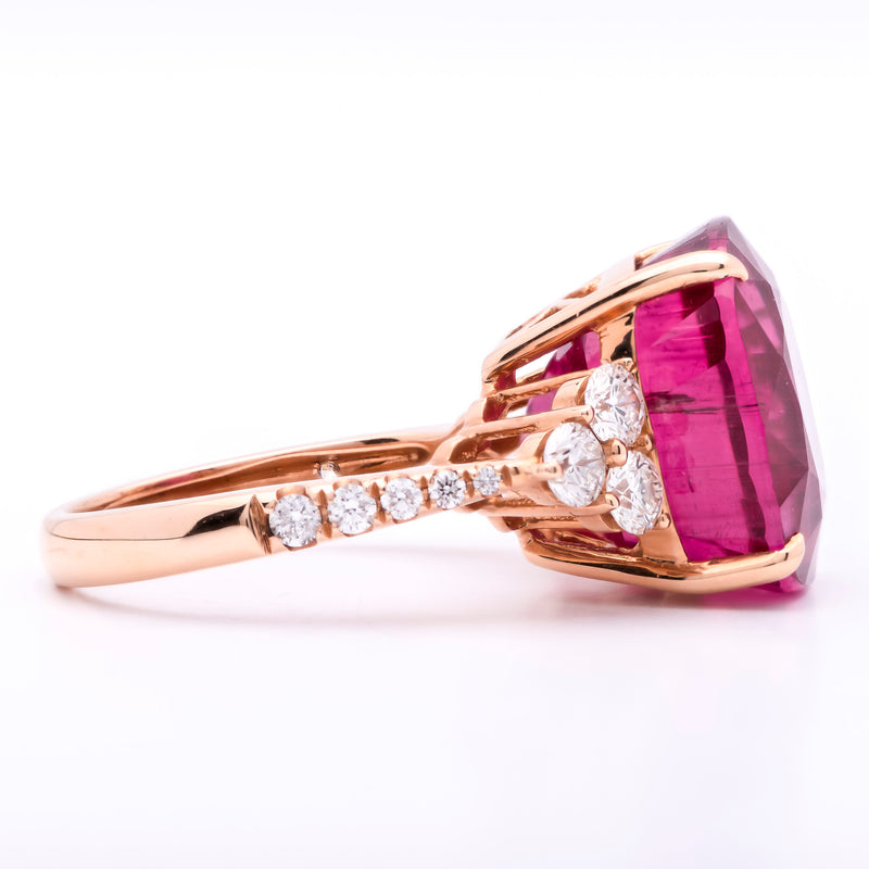 14.77ct Rubellite Tourmaline Ring in 18k Rose Gold with Diamonds