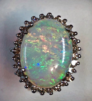 1960s Estate Solid Opal Ring in 14k White Gold with Diamonds