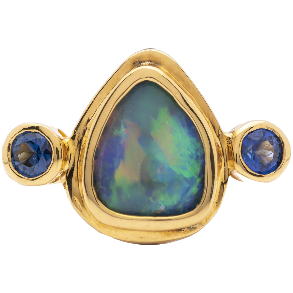 Women's 1.04ct Black Opal in 18k Yellow Gold with Blue Sapphire