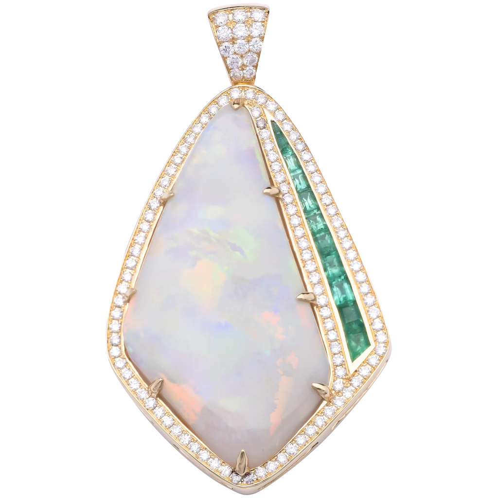 20.35ct Opal Pendant in 18k White Gold with Emeralds and Diamonds