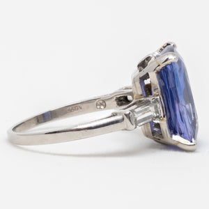 Women's 8.47ct Unheated Blue Sapphire Ring in Platinum with Diamonds