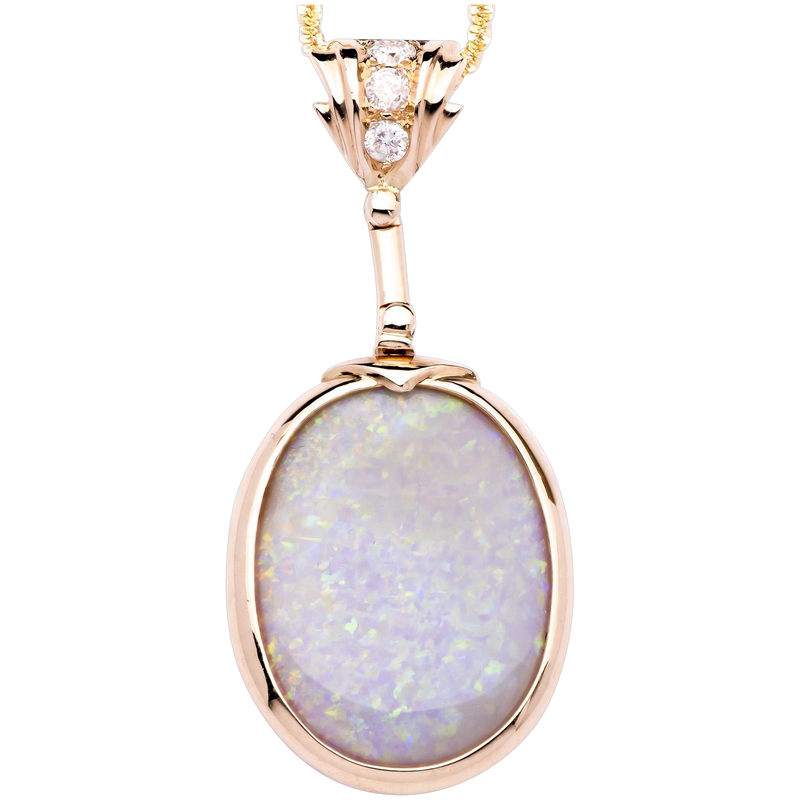 Unique Australian Opal 18K Yellow Gold Pendant accented with Diamonds