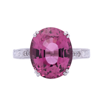 Women's 8ct Pink Tourmaline Ring in Engraved Filigree 18K White Gold