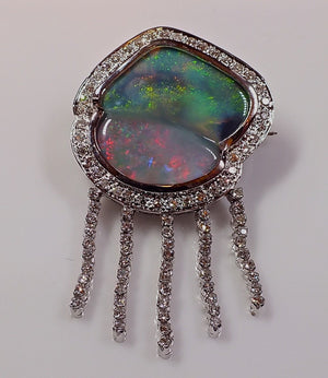 Solid Black Opal Brooch / Pendant in 18k White Gold with Diamonds - Jelly Fish