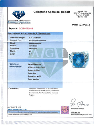 Women's 6.01ct Blue Sapphire 18k White Gold Ring with Diamonds, Edwardian Style