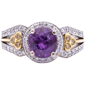 Women's 2.63ct Unheated, Burmese Purple Sapphire Engagement Ring in 18k Gold