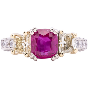 Women's 2.02ct Unheated Ruby Ring with Yellow and White Diamonds in 18k Gold