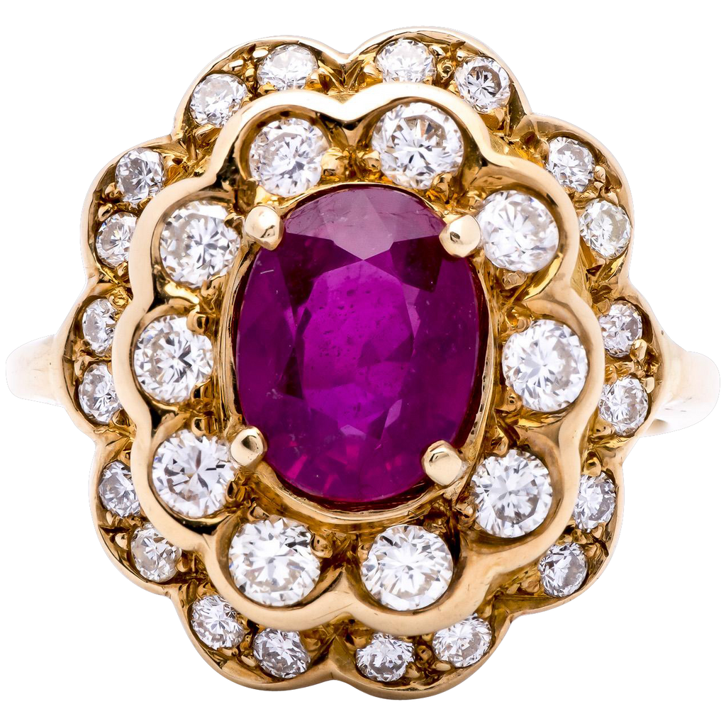 Women's 1950s 1.92ct Burmese Ruby and Diamond Ring