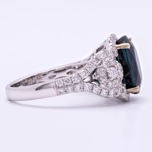 Womens 6.58ct Sapphire & Diamond Ring in 18K White Gold