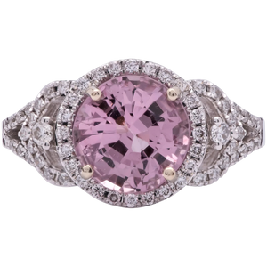 Estate Ladies 2.73 Cts Round Pink Spinel in 18k White Gold with Diamonds
