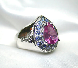 "Fit for a Princess 3.20 Carat ""No Heat"" Pink Sapphire 18K White Gold Ring"