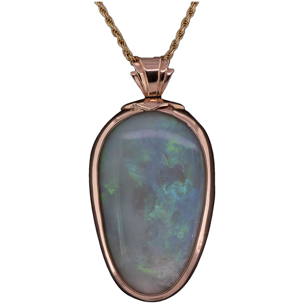 Women's ~60ct Crystal Opal Pendant in 18k Gold