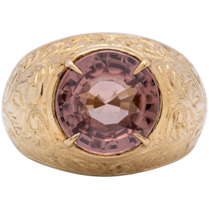 Vintage Men's 9.25 Cts. Natural Pinkish Orange Zircon Ring in 18k Gold