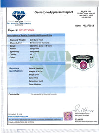 Women's Natural ~2.5ct Pink Sapphire Ring in 18k White Gold with Diamonds