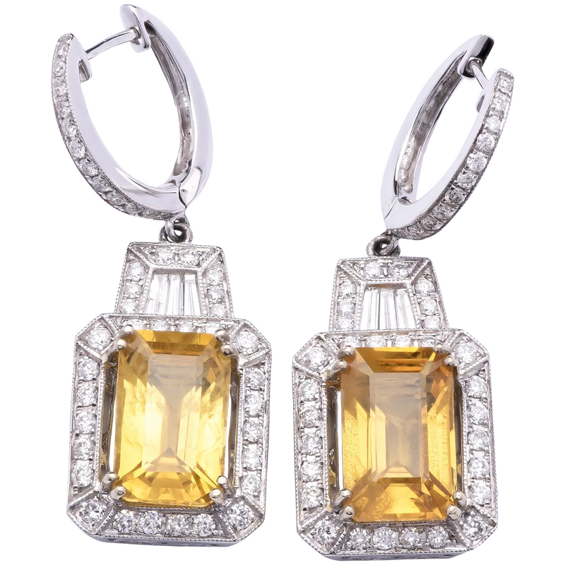 Estate Golden Yellow Sapphire Earrings in 18K White Gold w/ Diamonds