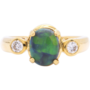 Women's 1.62ct Black Opal Ring in 18k Yellow Gold w/ Diamonds